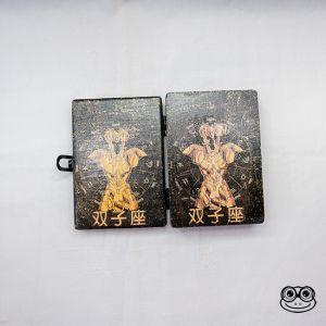 Caja madera caballeros del zodiaco armadura dorada geminis abierta