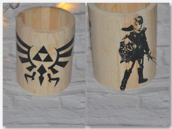 Portalápices Redondo Link The legend of zelda. Transferencia de imagen en negro.
